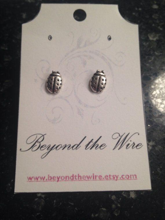 Ladybug Charm Earrings/ Small/ Stud Earrings/ by BeyondtheWire