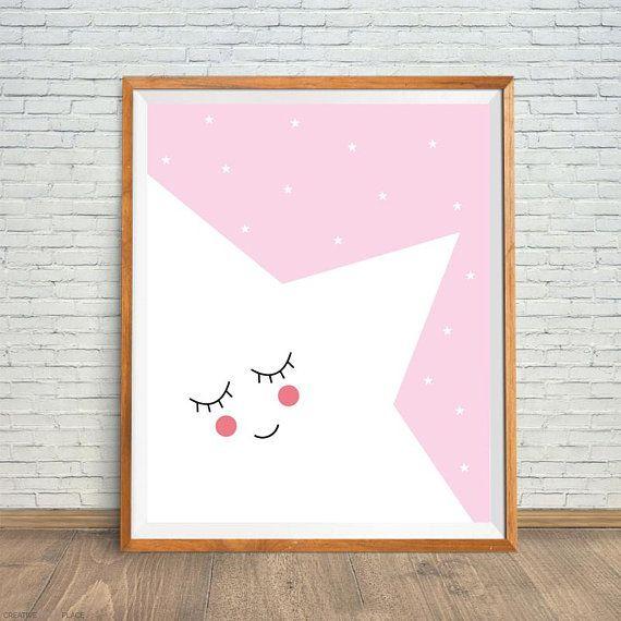 Sleepy Star Print, Big Star Print, Star Nursery Art, Pink Nursery