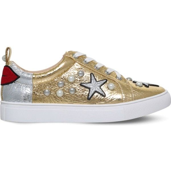 Kg Kurt Geiger Lippy embellished metallic trainers ($140) ❤ liked on Polyvore featuring shoes, sneakers, rubber sole shoes, print shoes, lips shoes, decorating shoes and embellished sneakers