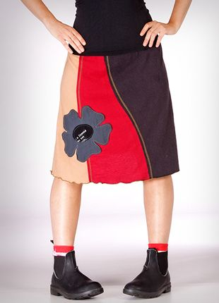 Appliqué Skirt made from recycled t-shirts