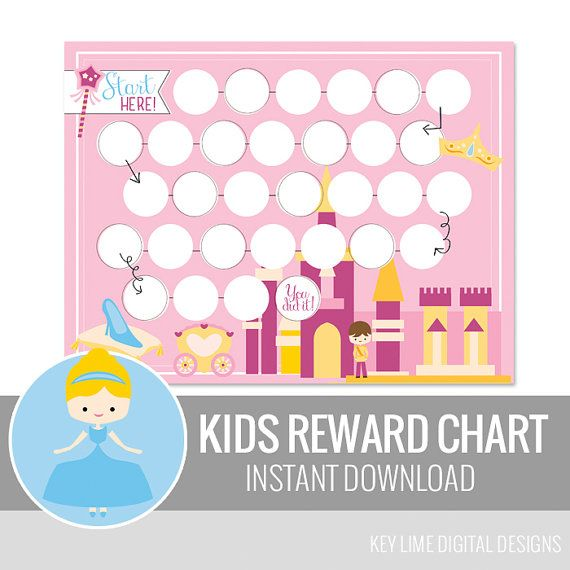Princess  Kids Reward Chart   Instant Download by keylimedd