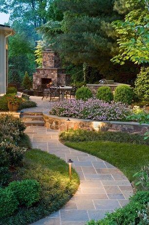 Transitional Landscape/Yard with Eldorado Stone Top Rock - Dakota, exterior tile floors, Pathway, Raised beds