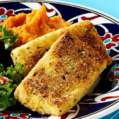 Cornmeal-Crusted Tofu with Mashed Sweet Potatoes