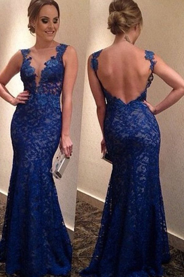 Elegant Mermaid Royal Blue Prom Dress Evening Gowns With Lace Appliques PG311