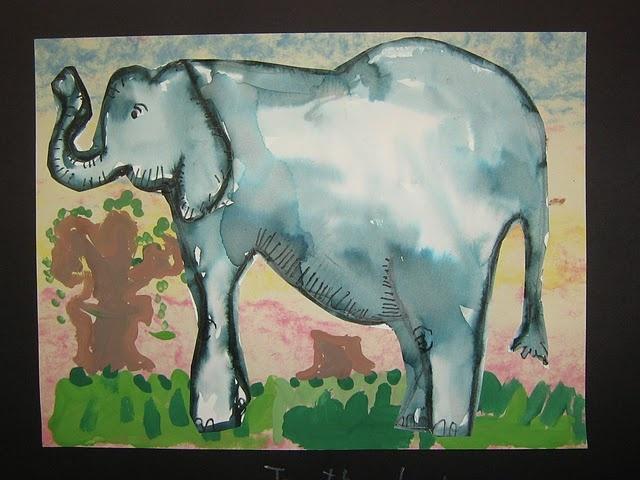 Washable Marker Elephant Art Craft: Fun Art, Elephants Power, Art Crafts, Watercolor Elephants, Funart, Elementary Art, 4 Kids, Art Projects, 1St Grade