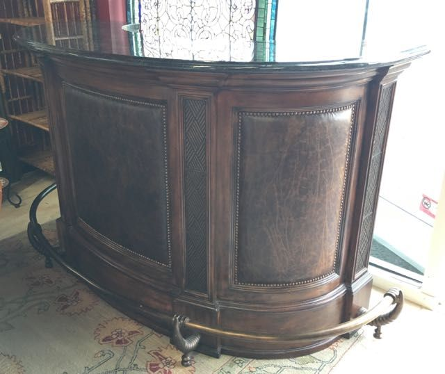 Maitland Smith Bar And Stools The New Focal Point Of All Your Home Entertaining This Curved Mahogany Bar Has Leath Chicago Furniture Bars For Home Furniture