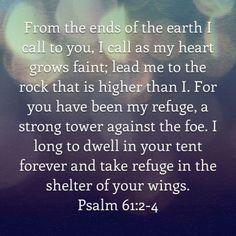 bible verses psalms 61:2-4 - Google Search