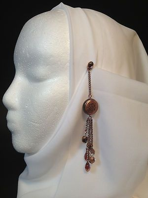 Hijab Copper tone Pin with 6 strand drop glass & crystal
