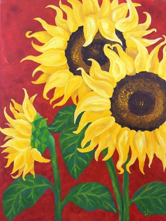 Original Painting, SUNFLOWERS on RED,18x24 Acrylic Canvas ...