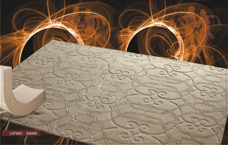Alfombra latino swan alfombra moderna en tonos crudos y - Alfombras dibujos geometricos ...