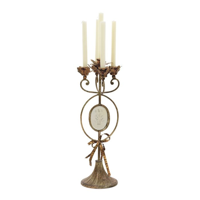 Iron candelabra with blossom bobeches and openwork base product candelabraconstruction material iron and mirrored glasscolor antique brownaccommodates