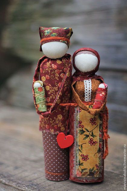 """Неразлучники""- семейный оберег - коричневый,оберег,семейный оберег,народная кукла"