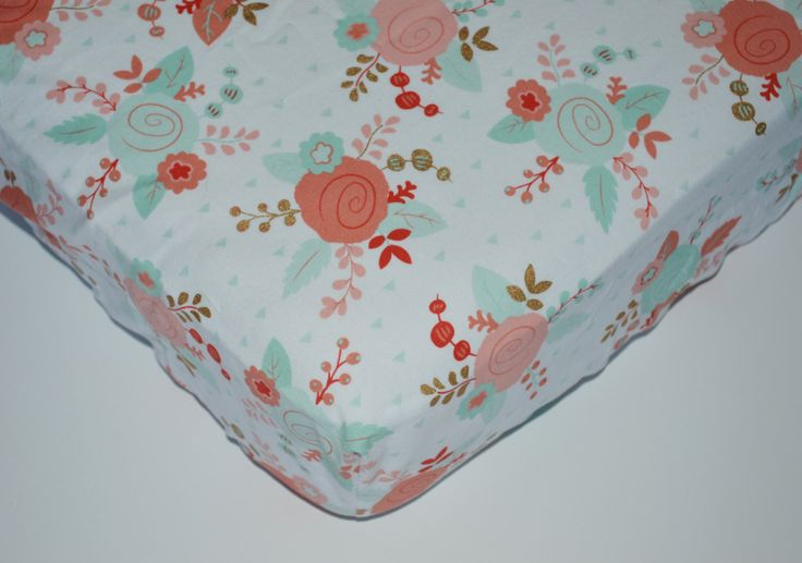 Fitted crib sheet - Coral Gold and Mint Roses - Crib Sheets - Modern Floral Nursery