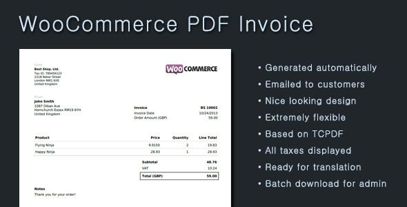 WooCommerce PDF Invoice Wordpress plugins Pinterest - when invoice is generated