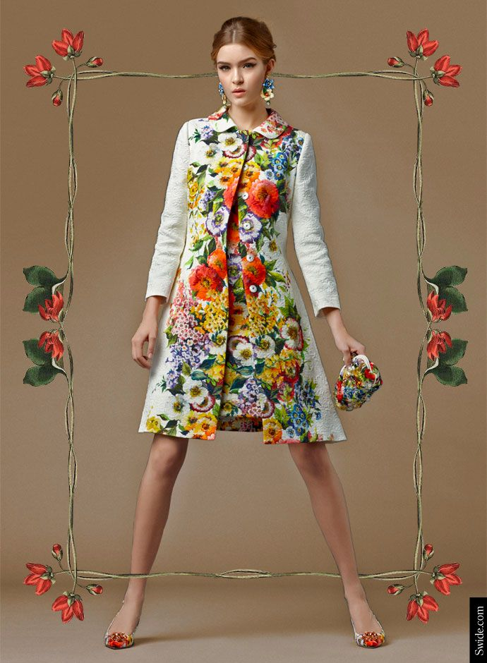 Day Dolce&Gabbana Fall 2014 Pre Collection Womenswear: Floral Print Brocade Matching Coat and Dress