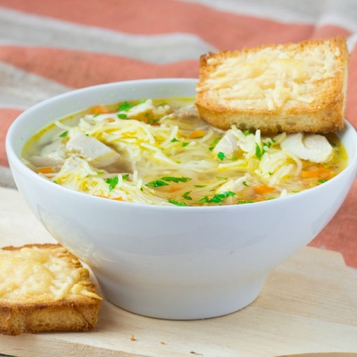 A very yummy chicken noodle soup recipe, Served with Parmesan cheese toast.. Chicken Noodle Soup With Cheese Crusties Recipe from Grandmothers Kitchen.