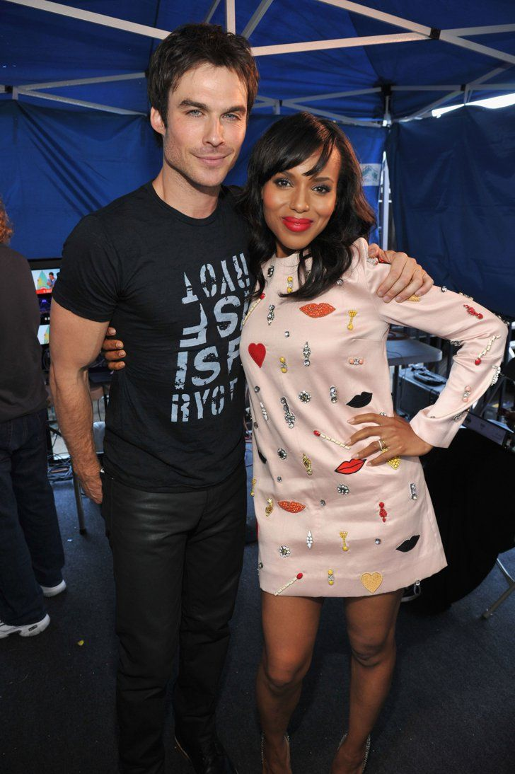 Pin for Later: A Look Back at the Best of the Teen Choice Awards  Ian Somerhalder and Kerry Washington shared a sweet hug backstage in 2013.