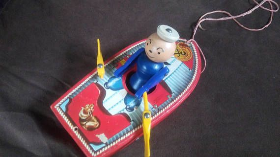 RARE 1952 Fisher Price Racing Rowboat 730