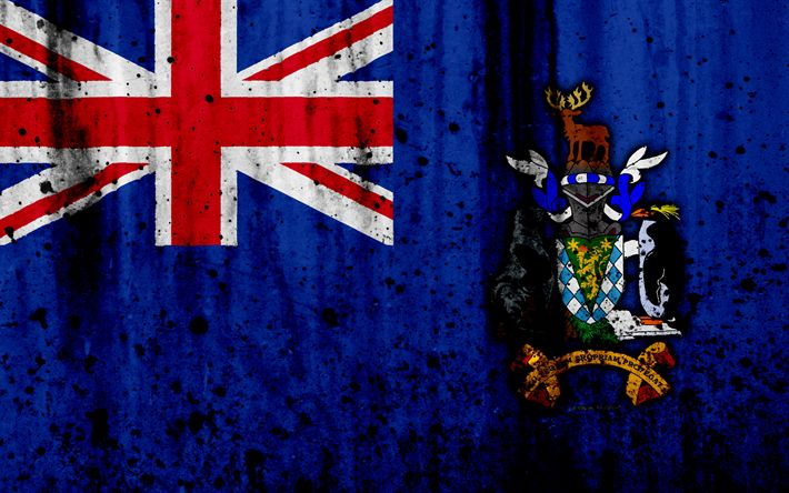 Download wallpapers South Georgian flag, 4k, grunge, flag of South Georgia, South America, South Georgia, national symbols, coat of arms of South Georgia, South Georgia national emblem