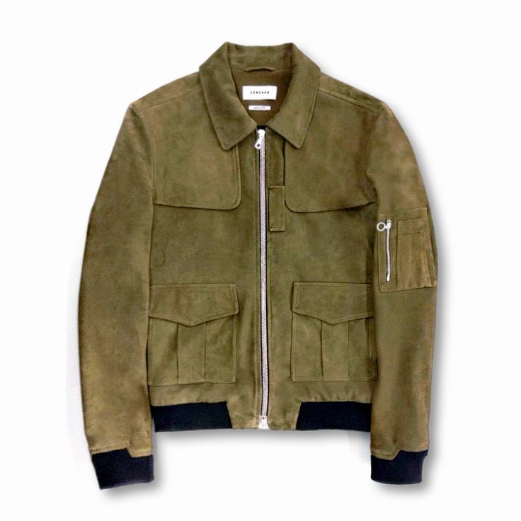 Suede Flight Jacket  Hand-tailored in NYC; featuring Swiss-designed…