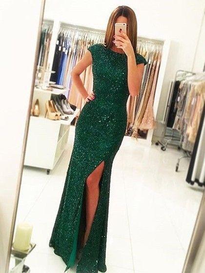 green prom dress, long prom dress, sparkle prom dress, cap sleeves prom dress, side slit evening dress, BD475
