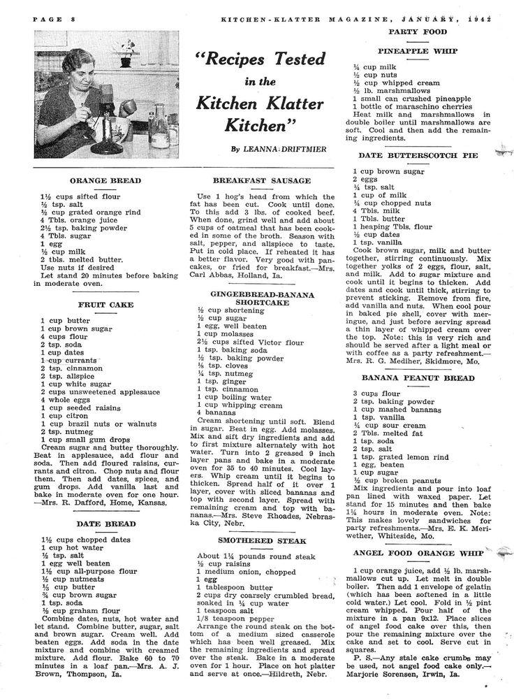 Kitchen Klatter Magazine, January 1942 - Orange Bread, Fruit Cake, Date Bread, Breakfast Sausage, Gingerbread Banana Shortcake, Smothered Steak, Pineapple Whip, Date Butterscotch Pie, Banana Peanut Bread, Angel Food Orange Whip