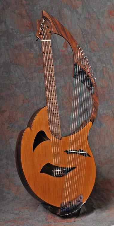 """The Barikoto is a baritone nylon-string guitar with an 11-string """"doubled"""" harp section. It is a collaboration between multi-instrumentalist Todd Green and Luthier Fred Carlson. As Todd Green says: """"It is the culmination of an idea I had to combine a nylon-string baritone guitar neck (tuned low to high B, E, A, D, b, e) with a small Chinese Gu Zheng-type section with 11 strings"""