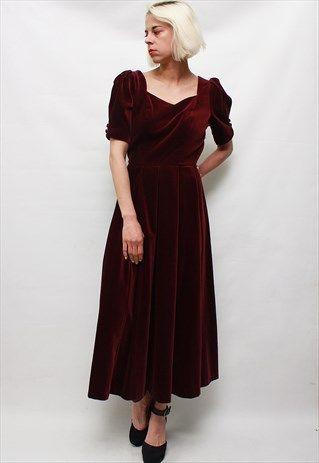 Vintage+80's+Beautiful+Elegant+Velour+Maroon+Dress