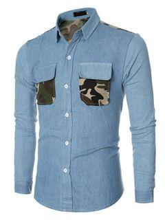 Camisas azules manga larga camuflaje bolsillos Slim Fit algodón Casual camisas para hombres