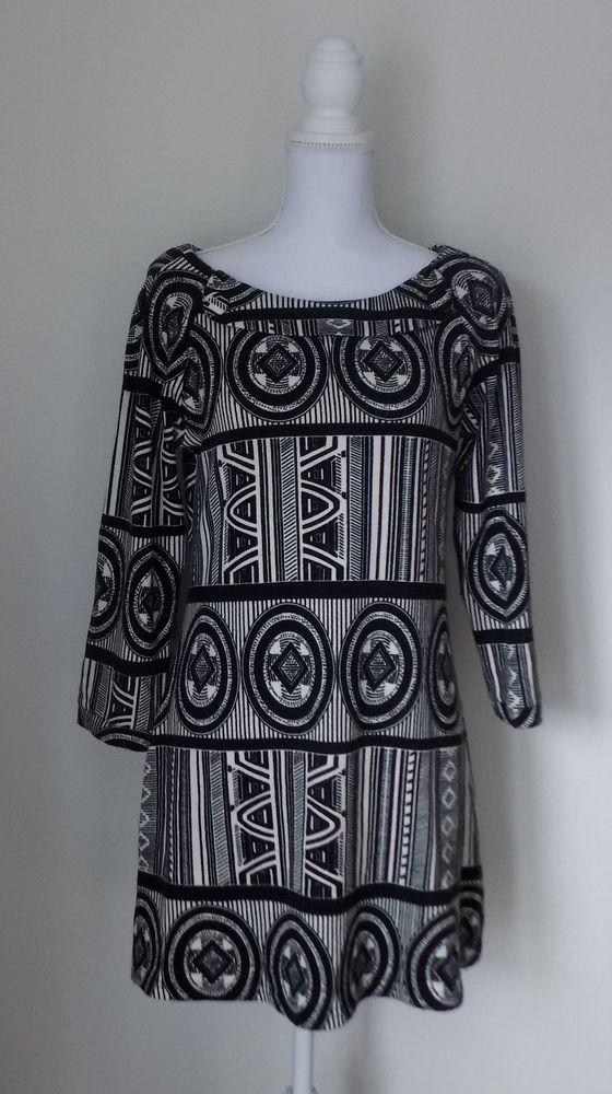 2ec4070bfcb Women s Aryeh Sweater Dress Boutique Clothing Size Medium Black Ivory  Geometric