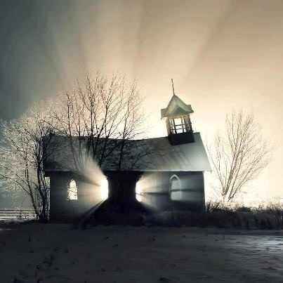 Abandoned 100 yr old Church in British Columbia, love the way the sun shines through it!