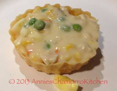 CHICKEN ALA KING - A thick and creamy chicken and vegetable soup served in a crisp pastry cup.