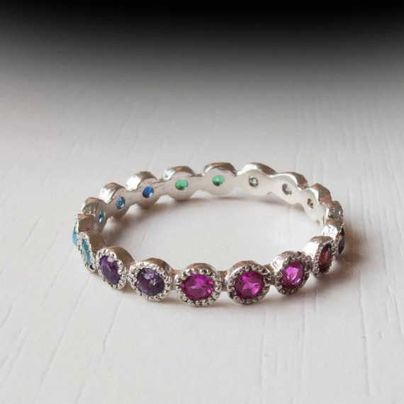 White Gold Eternity ring - Sapphire - Ruby - Citrine - Emerald - Garnet - Blue Topaz - Thin band - Silver - Amethyst