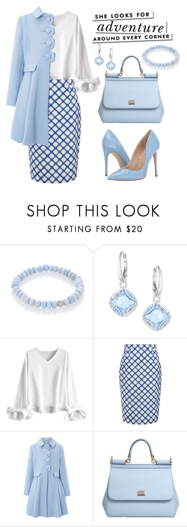 "I love the skirt, would put navey with it not the light blue.""Untitled #218"" by tinatin97 ❤ liked on Polyvore featuring Sydney Evan, Swarovski, Jonathan Saunders, Monsoon, Kate Spade, Dolce&Gabbana and Steve Madden"