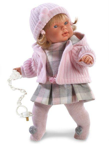 Llorens - babydukke, Anna Llorona - 42cm.  En dejlig babydukke medblondhår, iført et fint set tøj. Dukken har blød og dejlig stof krop og sin sut som hun er så glad for. Skønne babydukker fra Spanien. Llorens dukkerne er produceret af spanske M. Llorens Juan fra 1995