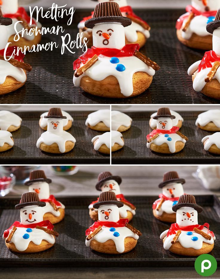 Make our Melting Snowman Cinnamon Rolls this Christmas. Bake your cinnamon rolls using package instructions then frost with vanilla icing. To make the head, top with a marshmallow, followed by half a chocolate cookie and an upside-down peanut butter cup for the hat. Next, create your snowman's face using mini chocolate chips for eyes and half an orange mini chocolate-shell candy for a nose. Finish with pretzel stick arms, colorful chocolate-shell candies for buttons, and a fruit strip scarf.
