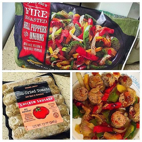 Sun Dried Tomato Chicken Sausage w/ Fajita Veggies  So much flavor & minimum effort required! Simply cut up a Trader Joes' Chicken Sausage (pre-cooked)  and heat up in a skillet with 1 Cup of Trader Joes Fajiti Style Veggiez  topped mine with Hot Sauce + Mustard   All of this for 140 Calories! I  VOLUME FOOD