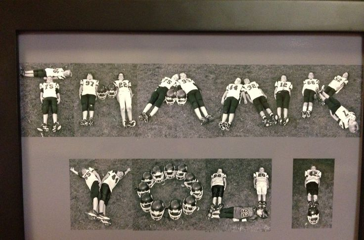 "Original pinner said ""My husband was given this as a thank you for coaching youth football. It was his favorite coaching gift.  Easy to do, position the kids to spell out ""thank you"", take picture and frame!  You can also type the year, team name and players names below the picture. Wa-la!"""