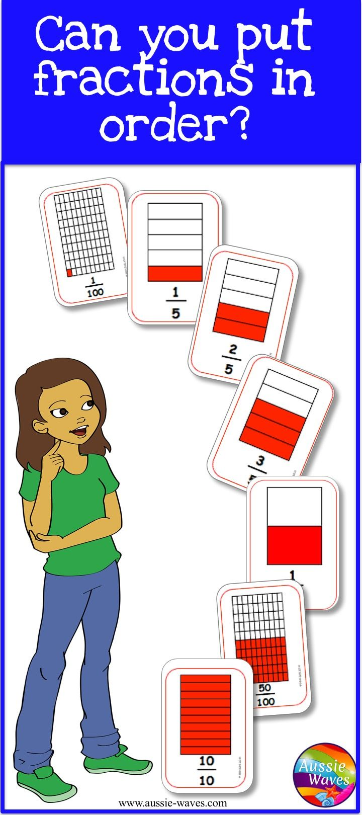 Over 60 printable cards with fractions and images to help students understand fractions.