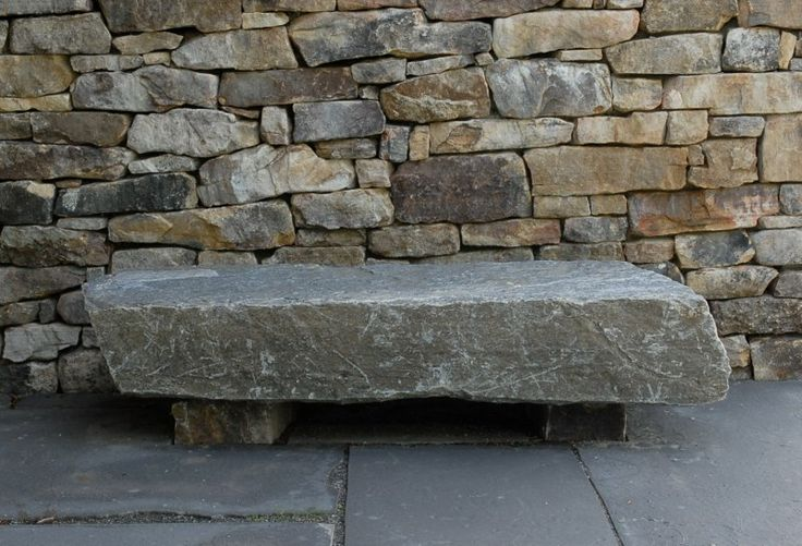 Stone bench by David Reed of Circle of Stone, Asheville, NC. His book on stonescaping is the best book on building walls and paths with stone. -CB