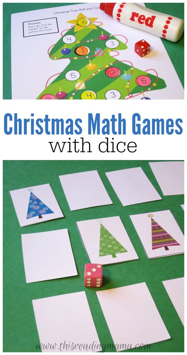Christmas Math Games with Dice - FREE 24-page Printable Pack for Pre-K through 3rd grades