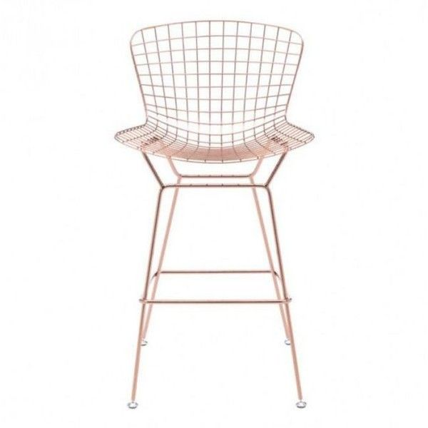 Zuo Modern Wire Bar Chair Rose Gold By ($278) ❤ liked on Polyvore featuring home, furniture, chairs, bar stools, midcentury chair, mid century modern chair, wire chair, wire furniture and molded chair