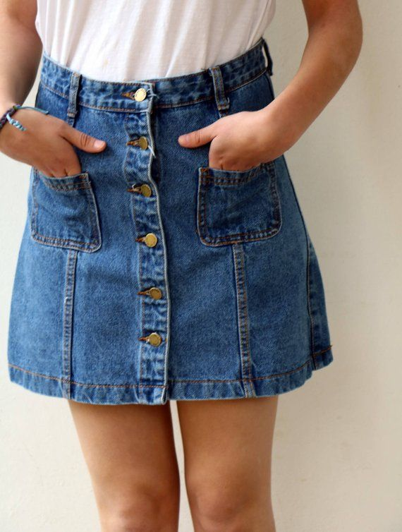 ced5dd54f7b Vintage Denim Skirt, 90s Mini High Waist Jean Skirt, Boho Hippie Jeans Blue  Button Front Cotton Ski