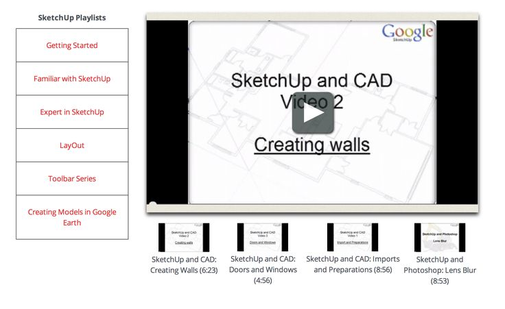 Expert in Sketchup - 4 videos  http://www.sketchup.com/learn/videos?playlist=59