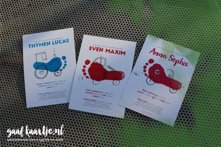 Gaafkaartje   unieke ontwerpen   geboortekaarten   geboortekaartjes   collectie 3   voeten   acryl   inkt   lijnen   kassen   westland   aquarel   brandweerwagen   racemonster   tractor   stoer   uniek   Voetafdruk