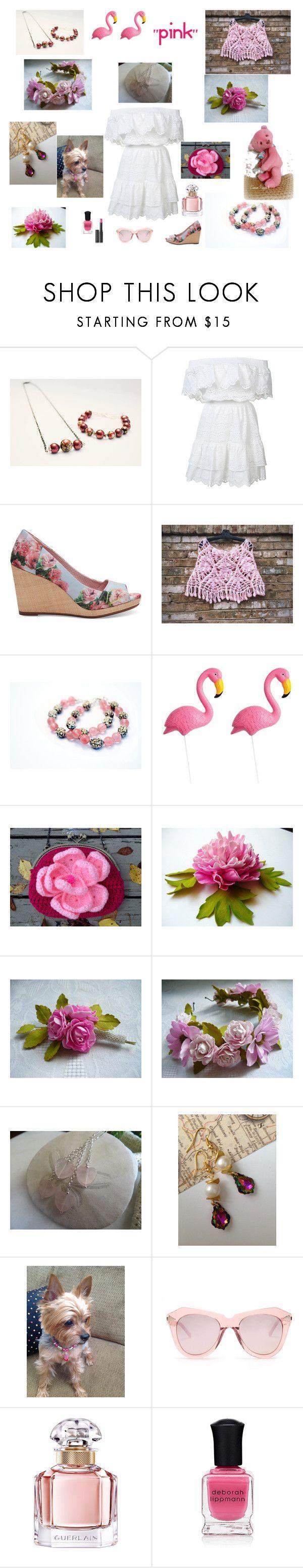 """PINK"" by artistinjewelry ❤ liked on Polyvore featuring LoveShackFancy, TOMS, Sunnylife, Karen Walker, Guerlain, Deborah Lippmann and Le Métier de Beauté"
