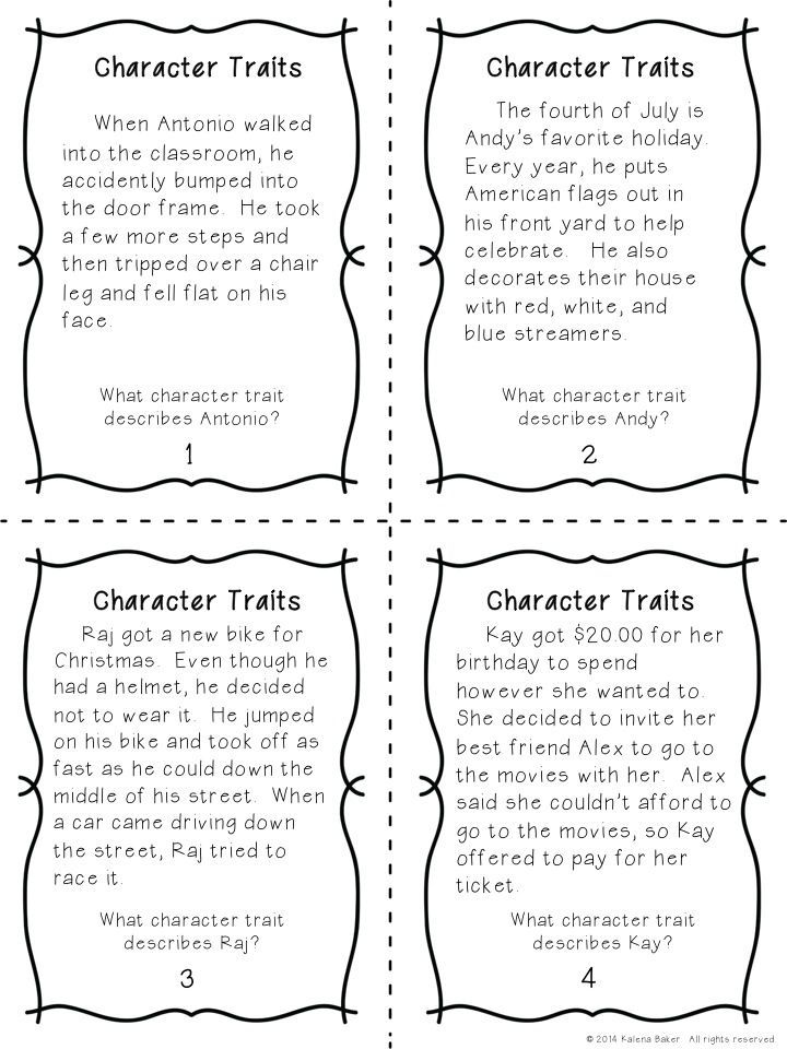 Character Traits Task Cards - Students mast make inferences about character traits and defend their reasoning.  $