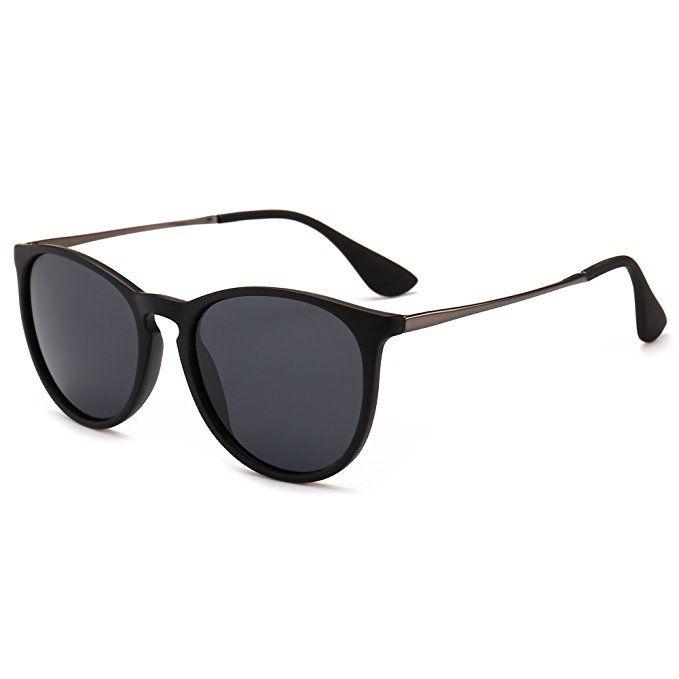 0965819bebb SUNGAIT Vintage Round Sunglasses for Women Classic Retro Designer Style  (Black Frame Matte Finish Polarized Grey Lens) 1567 PGHKH