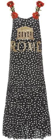 Applique Floral Sequin Embellished 'Rome' Spotted Silk Dress-Black
