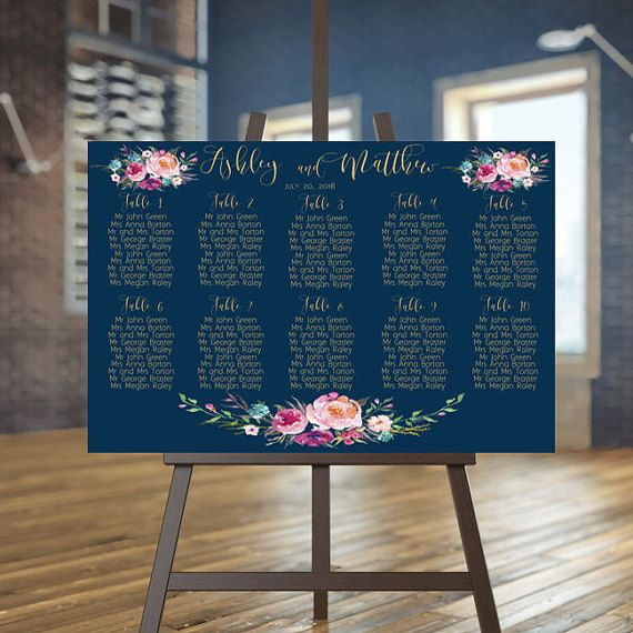 Wedding seating chart printable, Navy guests list printable, Gold seating chart…